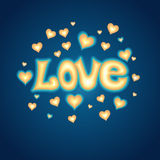 Love lettering against background with hearts Royalty Free Stock Photo