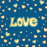 Love lettering against background with hearts Stock Image