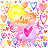 Love lettering background. Valentines day card. Love you lettering background. Valentines day card.  abstract watercolor background with colorful hearts. Love Royalty Free Stock Photos