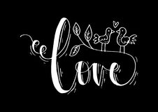 Love lettering with birds. Black background Royalty Free Stock Images