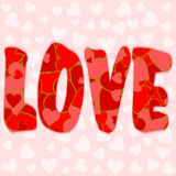 Love lettering filled with various red and pink hearts Royalty Free Stock Photos