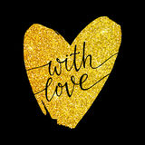 With love - lettering on a gold glitter heart. On a black background. Valentines day card. Hand drawn vector illustration. Design by flyer, banner, poster Stock Photos