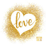 Love lettering and heart, gold sparkles background. Stock Photo