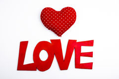 Love lettering with hearts Stock Images
