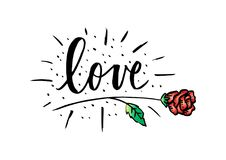 Love lettering with rose flower. stock illustration