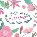 Love Lettering in Summer Floral Frame Royalty Free Stock Photo