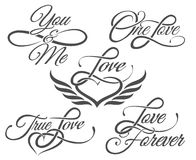 Love Lettering in Tattoo style. Set of Love Lettering in Tattoo style. on white vector illustration