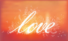 Love lettering. Vector hand drawn floral card with vintage flowers on blurred sunrise background . Landscape. Nature. Vector illustration Royalty Free Stock Photography