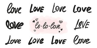 Love lettering vector overlay set. Handwritten words in different graphic styles stock illustration