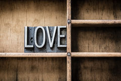 Love Letterpress Type in Drawer Royalty Free Stock Photo
