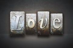 Love Letterpress. The word LOVE written in vintage letterpress type royalty free stock photography