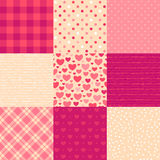 Love letters. Collection of 9 elegant seamless patterns on the theme of romance and love Royalty Free Stock Photography