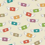 Love letters. Cute seamless pattern with flying love letters stock illustration