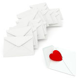 Love Letters. A heart of red glass in unsealed envelope on white background. Computer generated image with clipping path Stock Photo