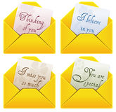 Love letters. Four welcoming letters Royalty Free Stock Images