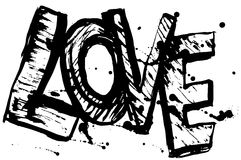 Love letters black sketch. Vintage Poster.  Royalty Free Stock Photo