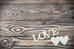 Love letters carved on the old wooden Stock Photos