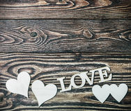 Love letters carved from plywood Stock Images