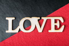 Love letters carved from plywood Royalty Free Stock Image