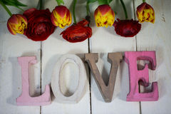 Love Letters with flowers for valentinsday Royalty Free Stock Image