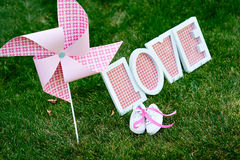 Love letters in the grass Royalty Free Stock Image