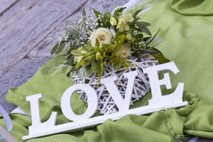 Love letters. Love letter sign in wedding Stock Photos