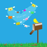 Love letters and mailbox  Royalty Free Stock Image