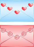 Cute love letters isolated on white background Stock Photography