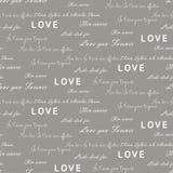Love letters seamless vector gray pattern. Romantic valentine wrap paper design. Love letters seamless vector gray pattern. Romantic valentine wrap paper white Stock Image