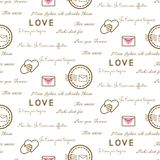 Love letters seamless vector pattern on white. Romantic valentine wrap paper design. Love letters seamless vector pattern on white. Romantic valentine wrap royalty free illustration