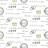 Love letters seamless vector pattern on white. Romantic valentine wrap paper design. Love letters seamless vector pattern on white. Romantic valentine wrap Royalty Free Stock Photos