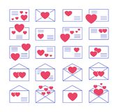 Love letters symbols. Vector icon set. Valentine's day mail. Open & closed envelopes with hearts. Isolated objects on white. Background royalty free illustration