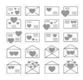 Love letters symbols. Vector icon set. Valentine's day mail. Open & closed envelopes with hearts. Isolated objects on white. Background stock illustration