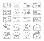 Love letters symbols. Vector line icon set. Valentine's day mail. Open & closed envelopes with hearts. Isolated objects. On white background stock illustration