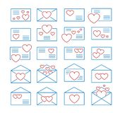 Love letters symbols. Vector line icon set. Valentine's day mail. Open & closed envelopes with hearts. Isolated objects. On white background royalty free illustration