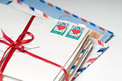 Love Letters tied with a Red Ribbon. Stack of Love Letters with a Red Ribbon Royalty Free Stock Photography