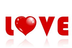 Love letters typography. And red hearts on a white background. Valentine`s Day Concept royalty free illustration