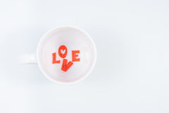 LOVE Letters in White Coffee Cup. (Top View) for Valentines day Stock Images
