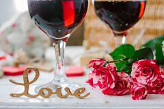 Love letters on wine background on Valentine's day celebration.  royalty free stock photo