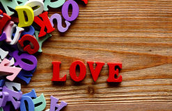 Love   letters   on   wood Royalty Free Stock Images
