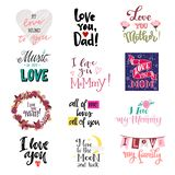 Love lettring vector lovely calligraphy lovable sign to mom dad iloveyou on Valentines day beloved card illustration set stock photos