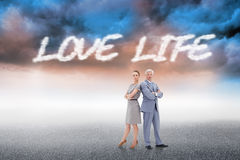 Love life against cloudy landscape background Royalty Free Stock Photo