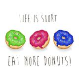 Love. Life. Donuts. Hand drawn calligraphic lettering. Vector card illustration. On white background Royalty Free Stock Photo