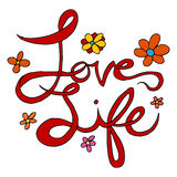 Love and Life Text. An image of love and life handwriting text stock illustration