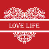 Love life white detailed heart ornament on red. LOVE LIFE slogan white detailed heart ornament on red background. This image is an illustration royalty free illustration