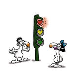 Love Light. Woman is stopped on the traffic light waiting to join her lover Royalty Free Stock Photos