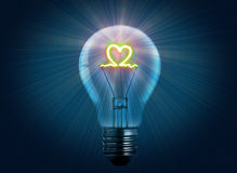 Love light bulb. Show with electric effect Stock Images