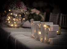 Love light. Decorative wedding table light Royalty Free Stock Image
