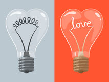 Love lightbulb in shape of heart Royalty Free Stock Photos