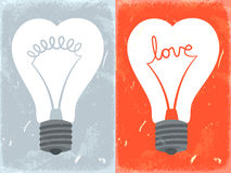 Love lightbulb in shape of heart Stock Photos